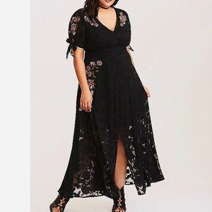 NWT Torrid Floral Embroidered Chiffon Maxi Dress